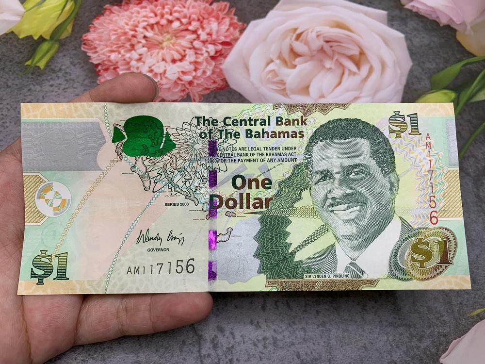 Tờ 1 Dollar Bahamas sưu tầm , tiền quốc gia châu Mỹ , mới 100% UNC, tặng túi nilon bảo quản