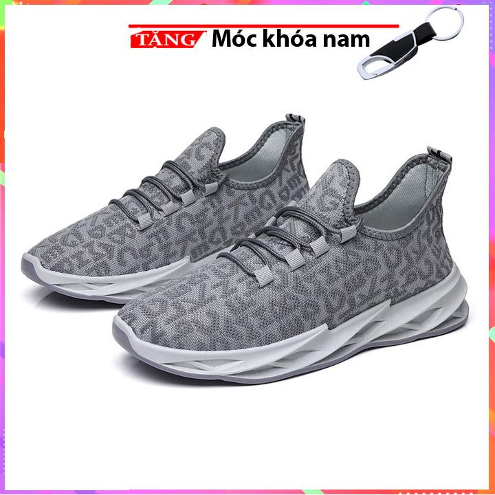 Giày Sneakers buộc dây Đế sấm sét xám ký tự du lịch thể thao K21 Tặng móc khóa nam cao cấp