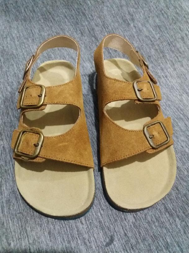 Giày Sandal Nữ Quai Ngang Da Bò Nâu A01