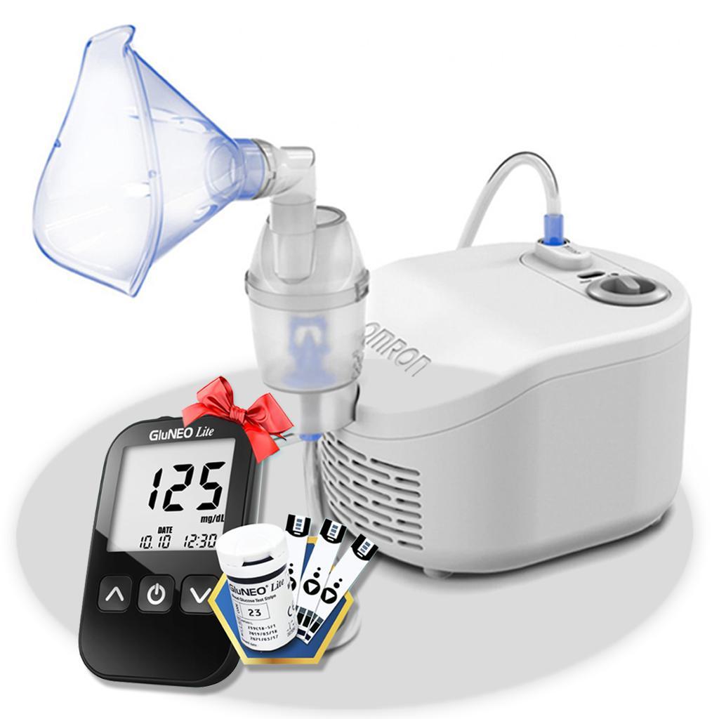 Máy xông khí dung Omron NE-C101 + Tặng máy đo đường huyết Gluneo Lite Hàn Quốc