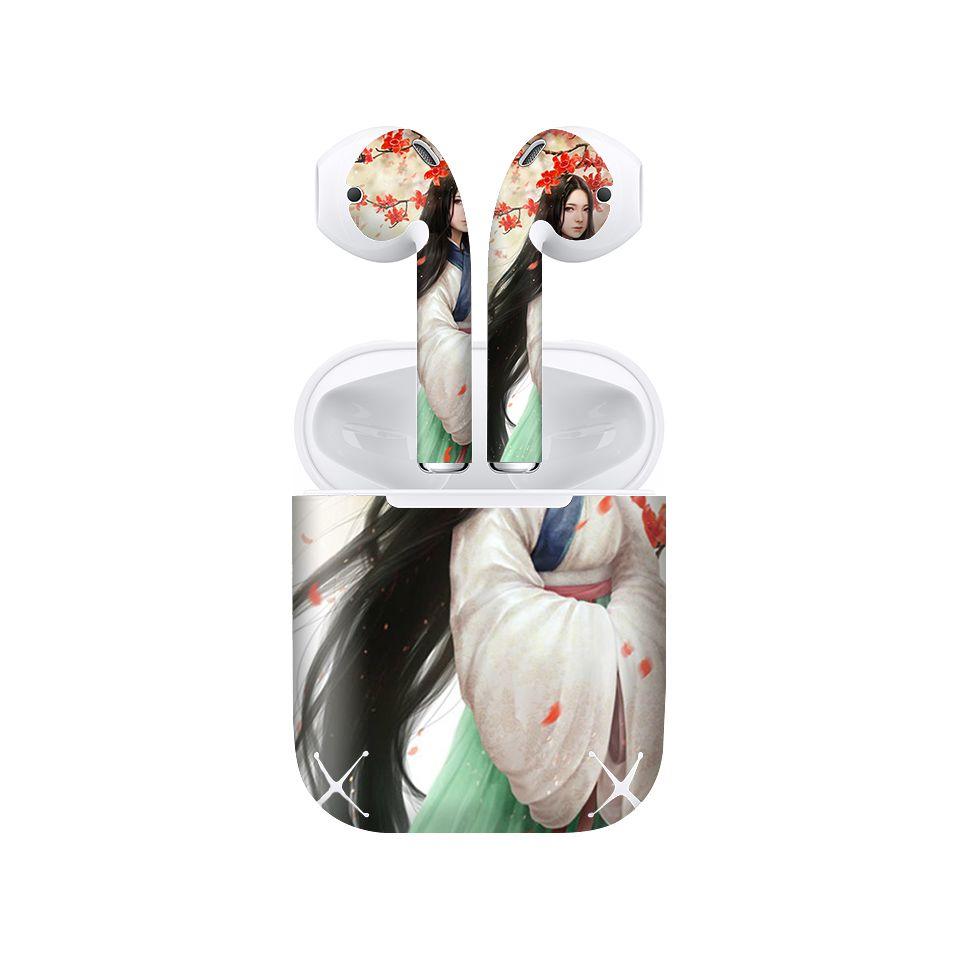 Miếng dán skin chống bẩn cho tai nghe AirPods in hình Ngọc Huyên - acp025 (bản không dây 1 và 2)