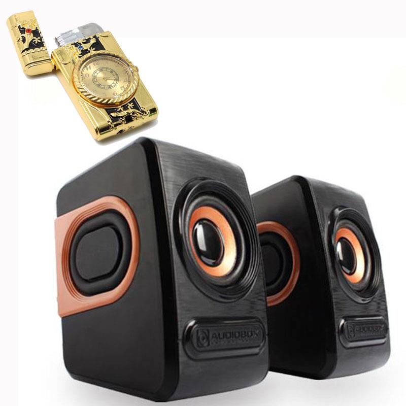 Combo Bộ Loa Máy Tính Stereo Mini Để Bàn Cao Cấp Âm Thanh Siêu Trầm Hỗ Trợ USB 2.0 + Tặng Bật Lửa Khò Kiêm Đồng Hồ Cầm Tay ( Họa Tiết Ngẫu Nhiên