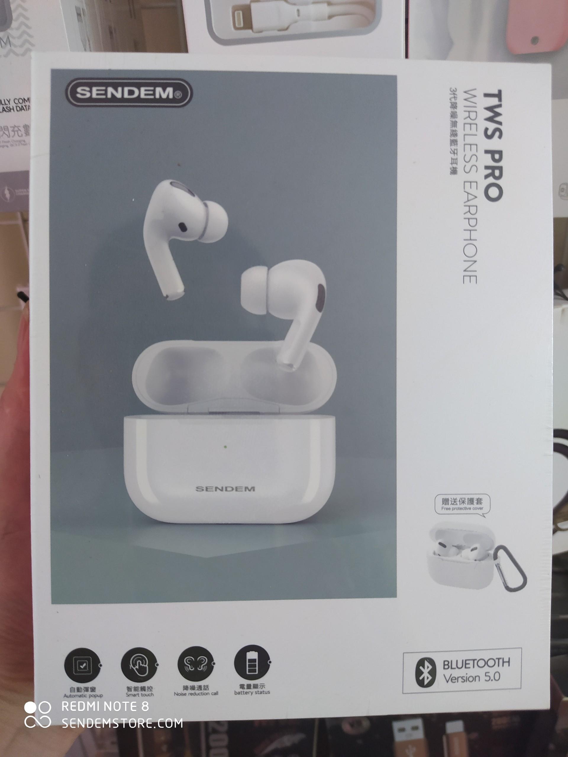 Tai nghe True Wireless SENDEM TWS PRO Bluetooth V5.0 hỗ trợ định vị, sạc không dây - Hàng chính hãng