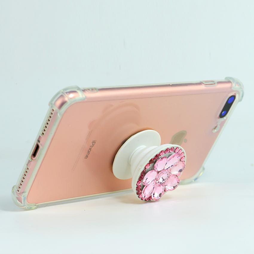 Gía đỡ điện thoại đa năng, tiện lợi, đính đá sang trọng - PopSockets - Đính đá Hồng - Hàng Chính Hãng
