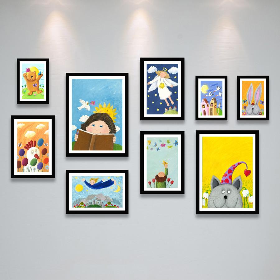 Khung Ảnh Treo Tường Phòng Bé Xinh Xắn Đáng Yêu Tặng Kèm bộ ảnh như hình mẫu, đinh treo tranh và sơ đồ treo - PGC280