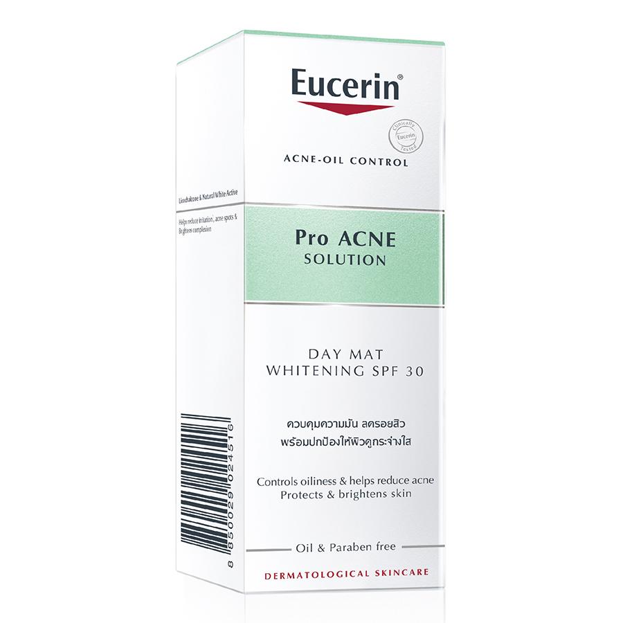 Kem Dưỡng Làm Sáng Da Chống Nắng Dành Cho Da Nhờn Mụn Eucerin Pro Acne Day Mat Whitening SPF 30 (50ml)