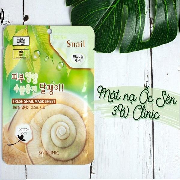 Combo 5 Mặt Nạ Dưỡng Chất Colagen Ốc Sên 3W Clinic Fresh Snail Mask Sheet 23ml x 5
