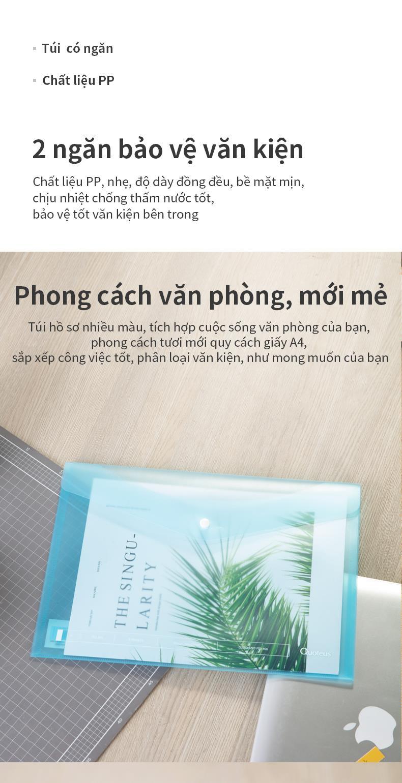 Túi Hồ Sơ A4 Deli - Xanh/Trong Suốt - 1 Chiếc - 72523