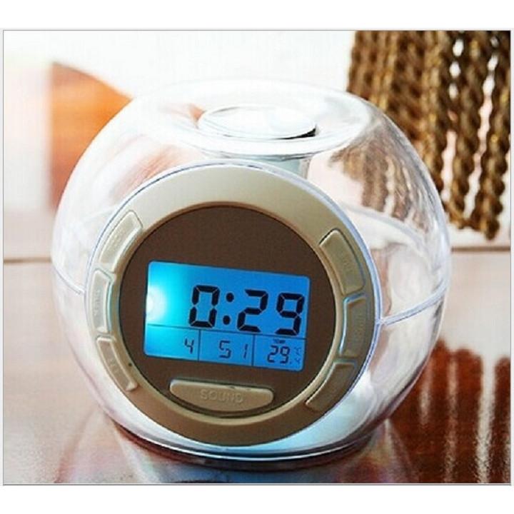 Đồng hồ led đê bàn hình quả cầu tròn đèn led 7 sắc mầu tùy chọn tặng kèm pin (lịch, đo nhiệt độ, đếm ngược thời gian, báo thức,đèn 7 sắc)