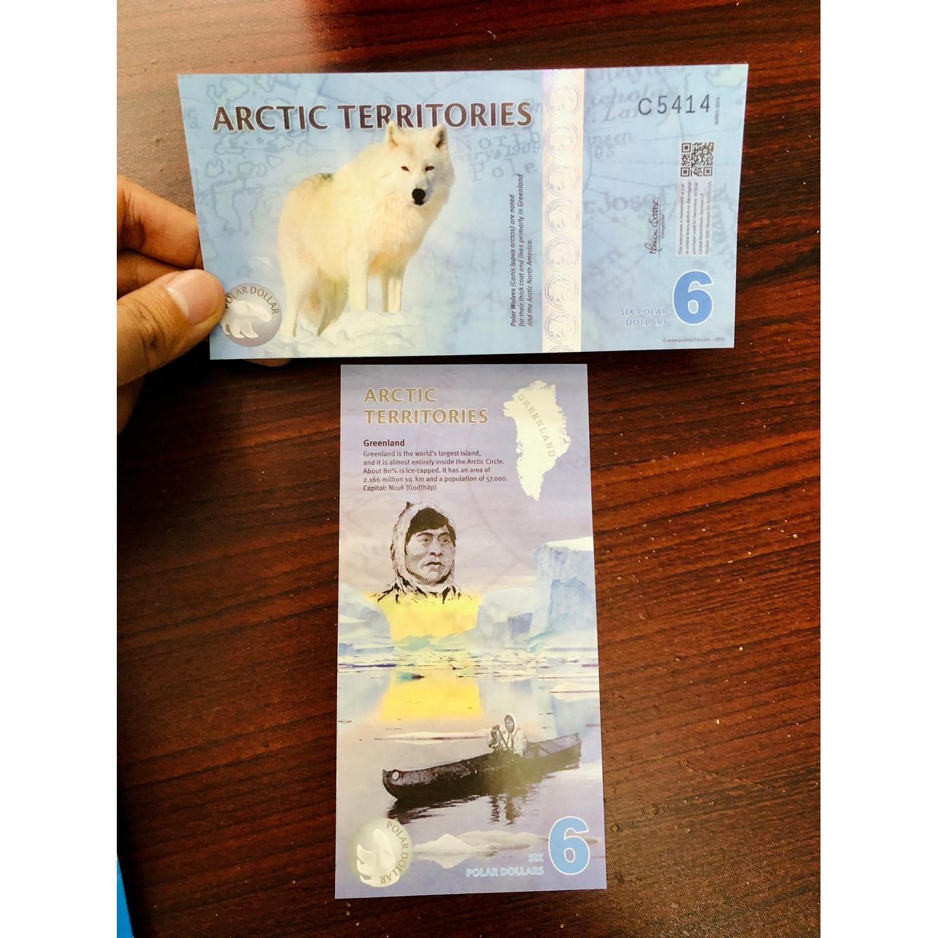 Tờ tiền lưu niệm hình con chó Bắc Cực 6 Dollar lì xì quà tặng - kèm bao lì xì