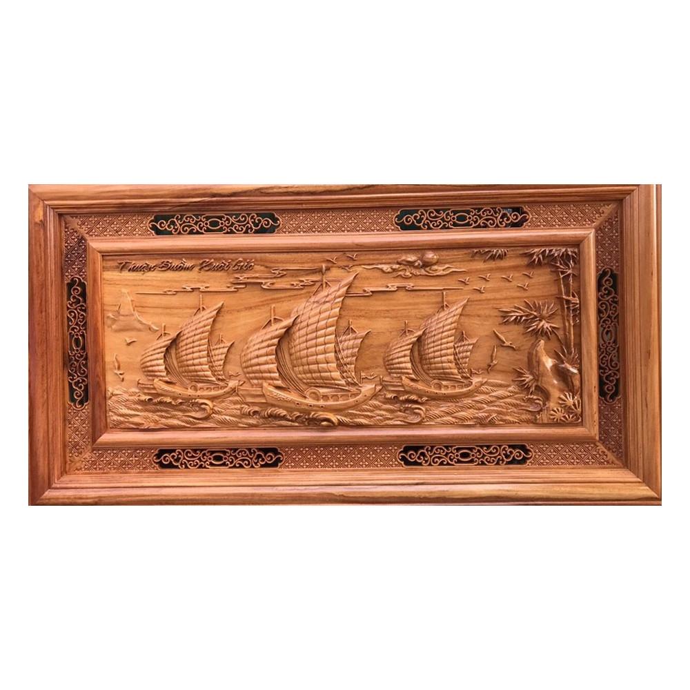 Tranh gỗ Thuận Buồm Xuôi Gió - Gỗ Gõ Đỏ nguyên khối không chắp ghép đục chạm thủ công tỉ mỉ đục bằng tay sắc nét