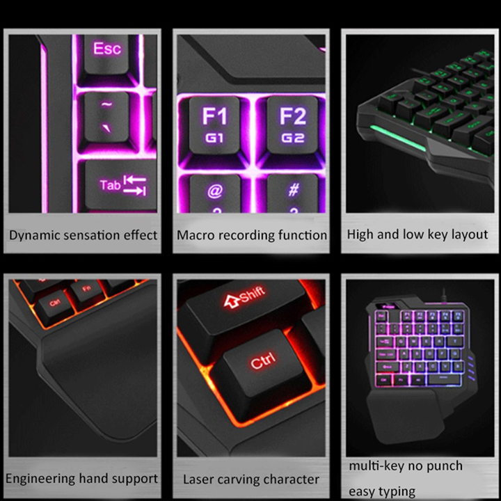 Combo bàn phím một tay G92 và chuột T06 LED NHIỀU MÀU TẶNG KÈM CÁP OTG - HÀNG NHẬP KHẨU