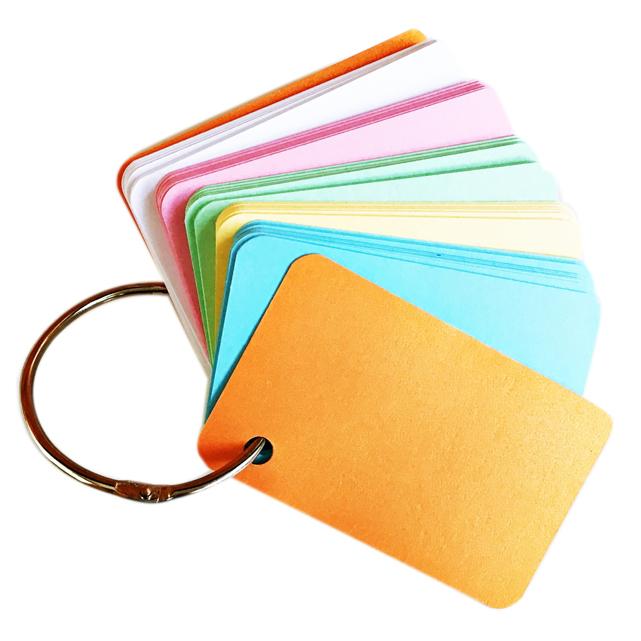 100 thẻ flashcard 5 màu 5x8cm(bo góc) bìa thái cao cấp tặng khoen inox + bìa cứng dày học ngoại ngữ