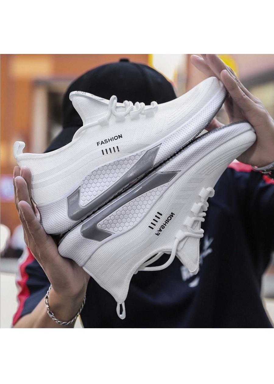Giày sneaker thể thao nam màu trắng cao cấp mẫu mới hot trend chất liệu vải dệt đế khử mùi