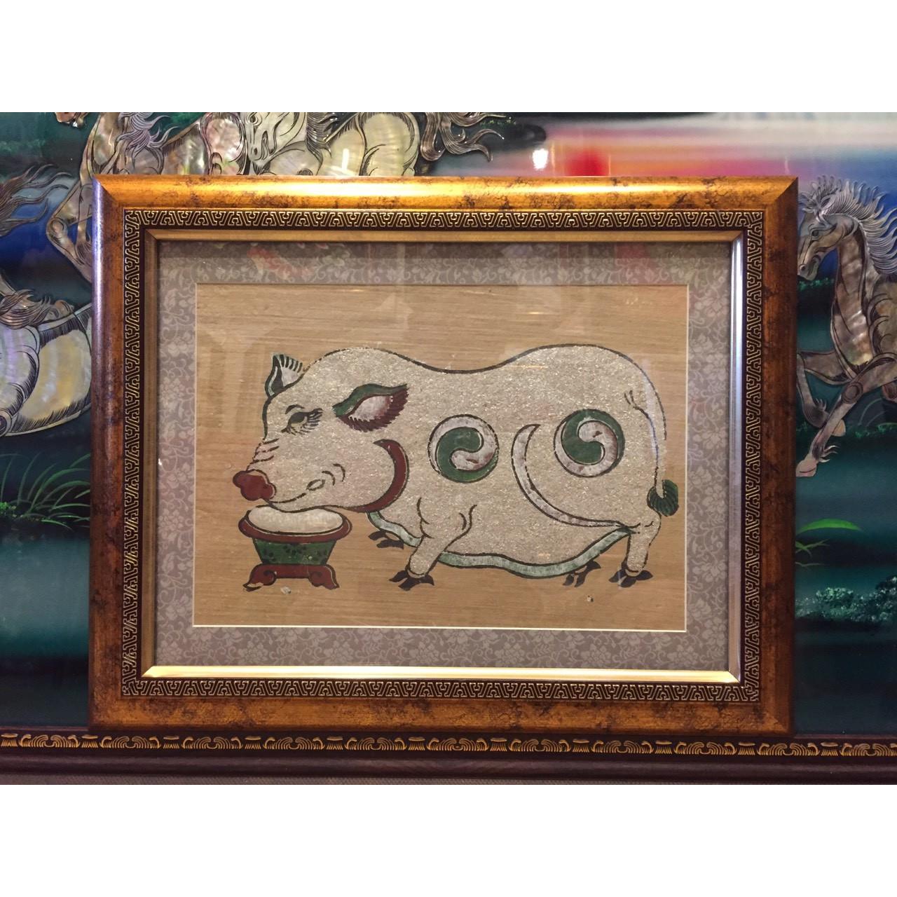 Tranh dân gian Đông Hồ - Lợn độc bên máng thức ăn