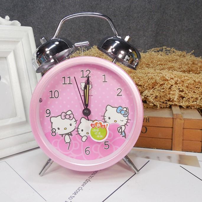 Đồng hồ báo thức để bàn Hello Kitty chuông kim loại có đèn 12x16cm