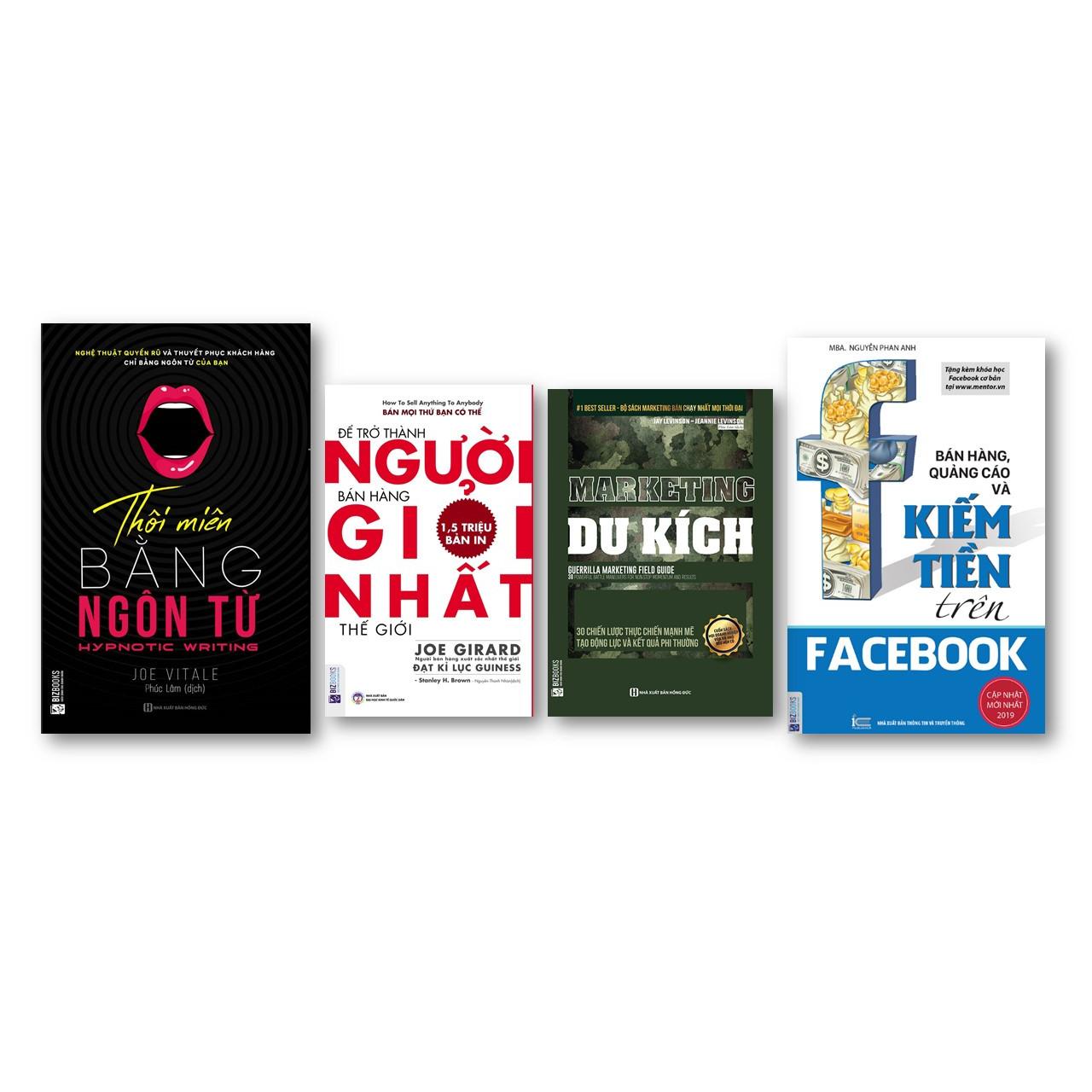 Combo  Để trở thành người bán hàng giỏi nhất thế giới + Bán hàng, quảng cáo và kiếm tiền trên Facebook + Thôi miên bằng ngôn từ + Marketing du kích ) ( tặng kèm bút bi )