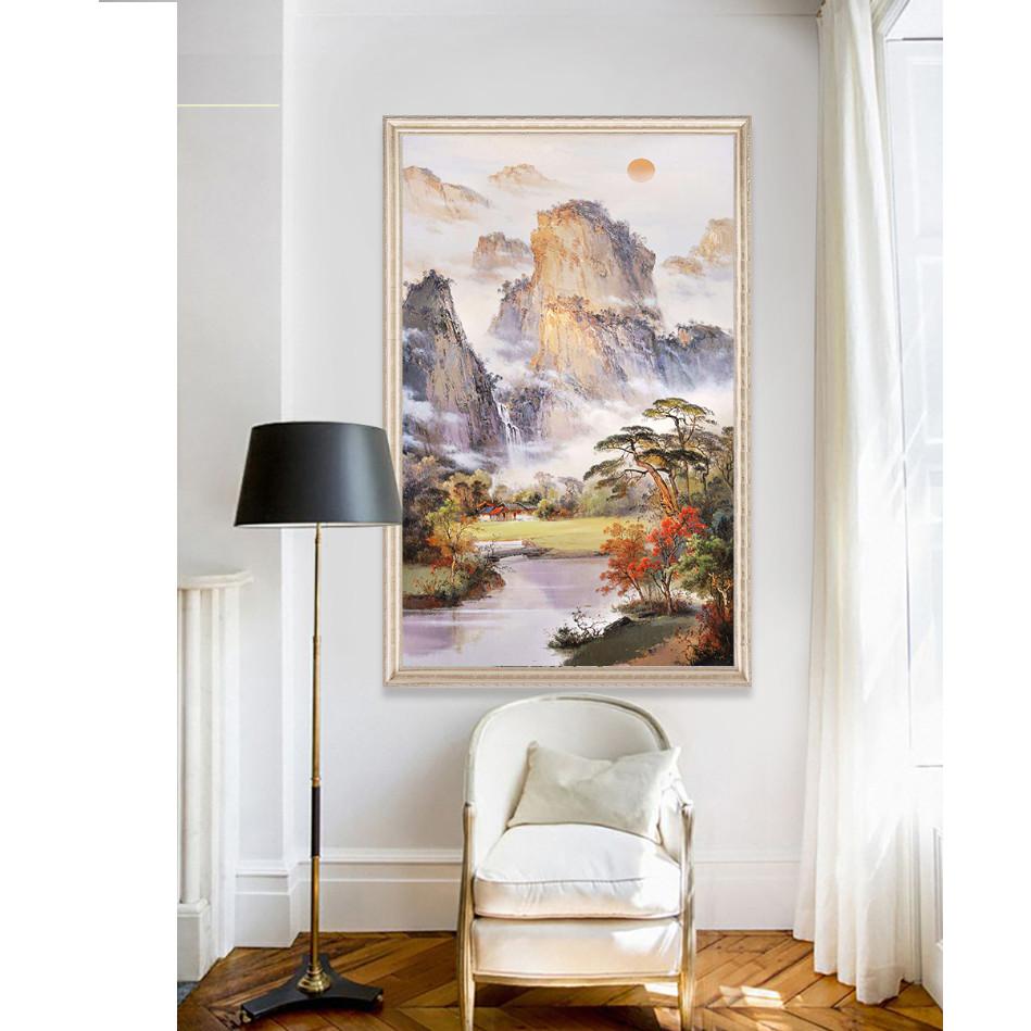 Tranh treo tường phòng khách, phòng ngủ -Tranh treo 1 tấm dọc M26629/ Gỗ MDF cao cấp phủ kim sa/ Chống ẩm mốc, mối mọt/Bo viền góc tròn