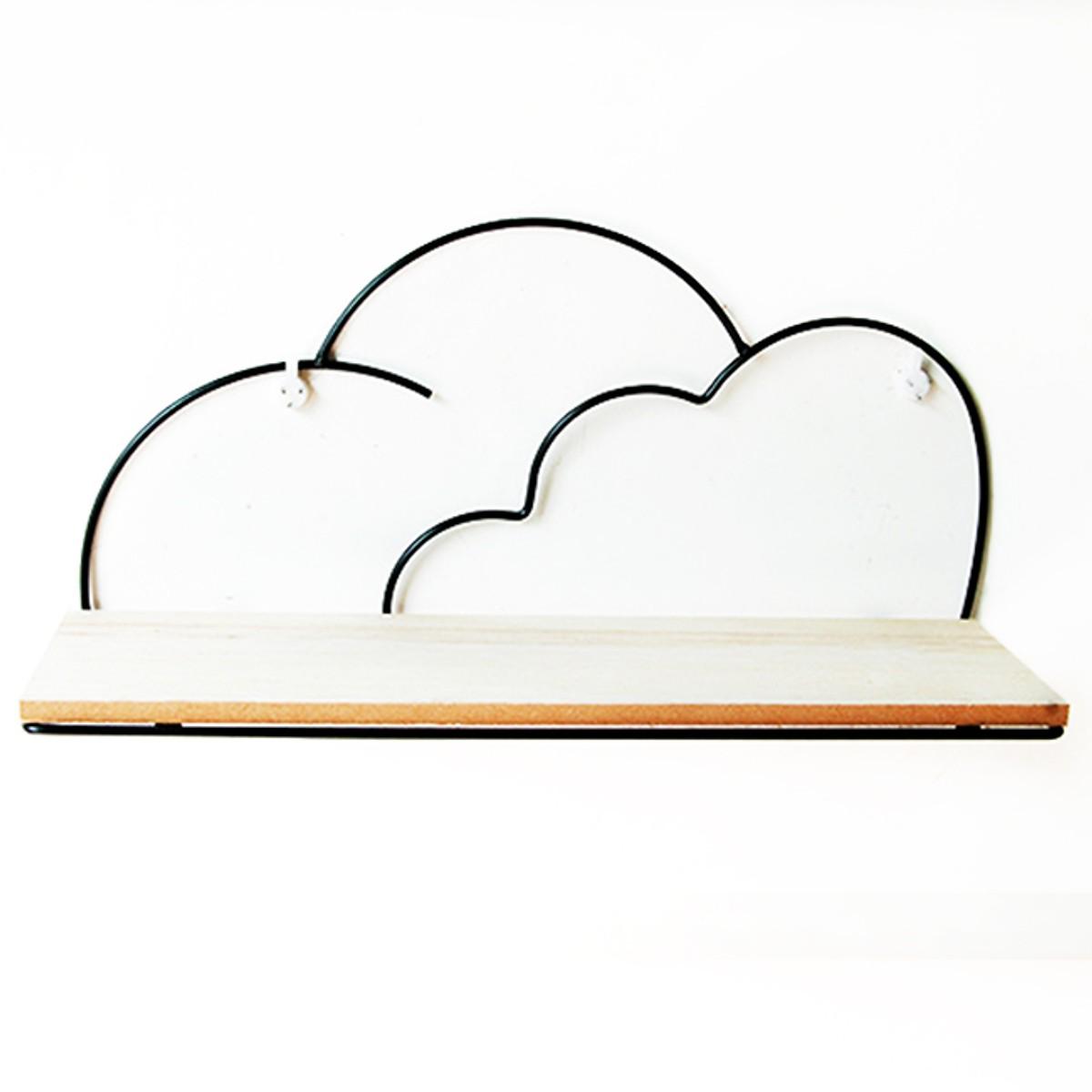Giá gỗ trang trí treo tường viền kim loại hình đám mây