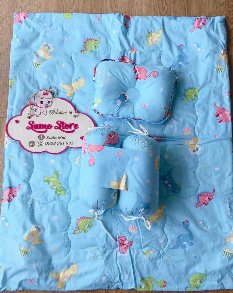 Bộ nệm gối cho bé sơ sinh cotton  có đinh lăng