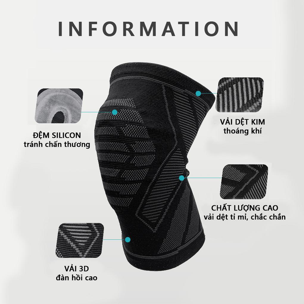 Băng bảo vệ đầu gối khớp gối (có đệm Silicon) Rhino P7731 Bó gối thể thao Đai bảo vệ đầu gối khớp gối Băng quấn đầu gối khớp gối - Hàng chính hãng dành cho cả nam và nữ
