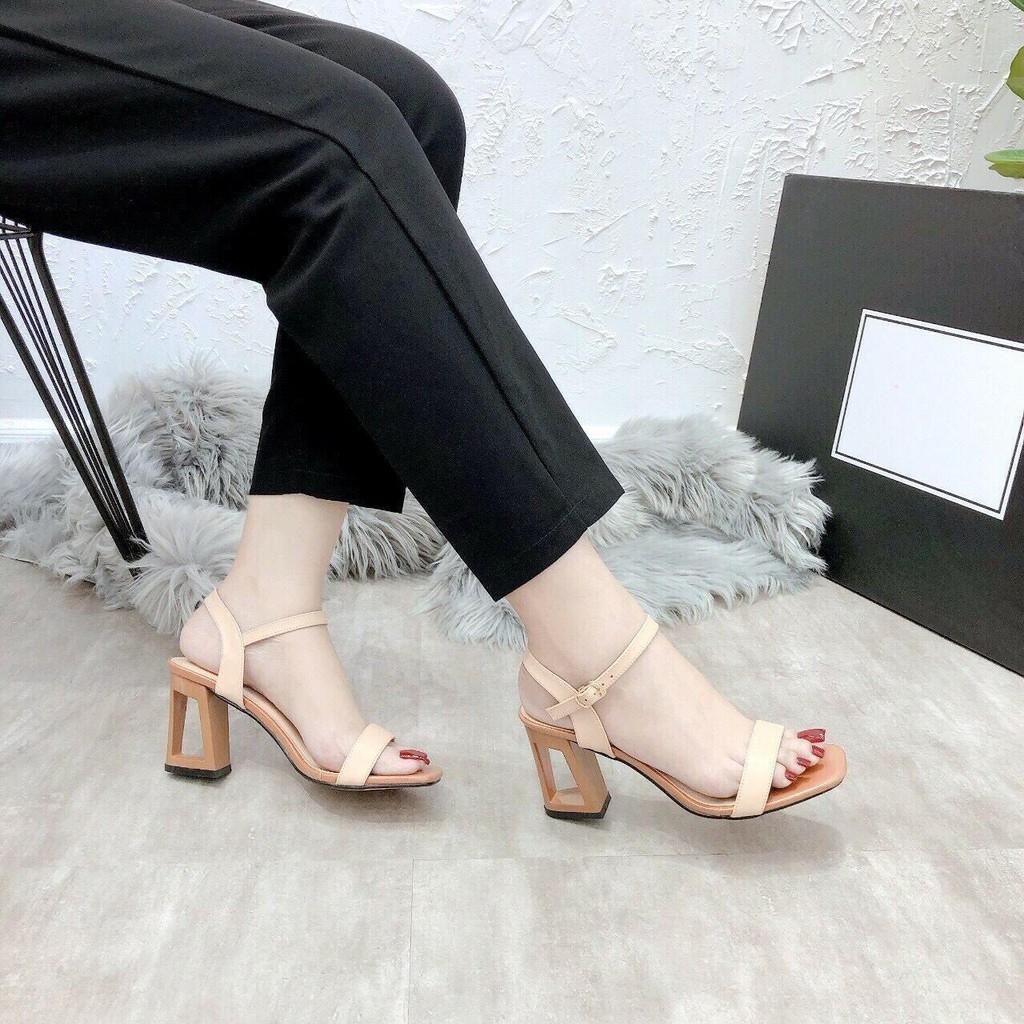 Sandal cao gót nữ, giày cao gót hỡ mũi đủ size từ 35 đến 40 gót khoét lỗ thời trang cao 6p
