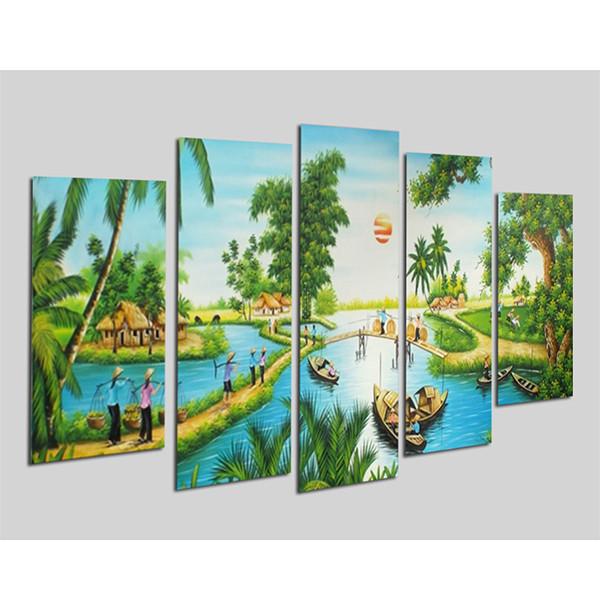Tranh treo Tường Đồng quê DQ15- Tranh gỗ treo tường