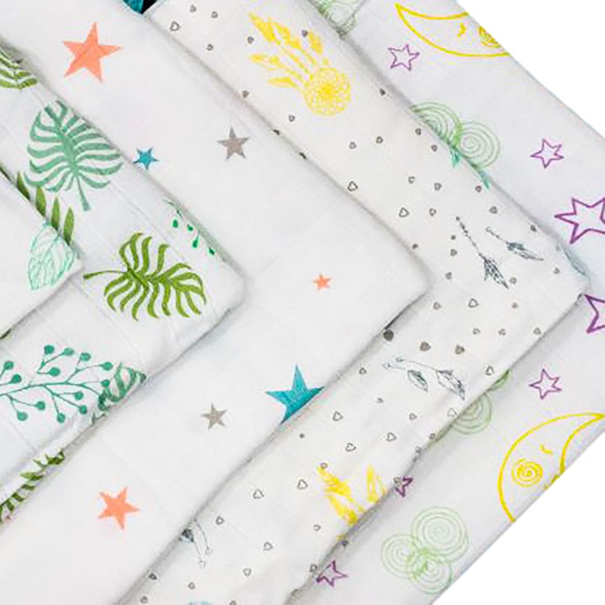 Bộ 10 cái khăn sữa vải sợi tre cho bé 30x30 Mamaru MA-KS30X30 - Diệt khuẩn, hút ẩm tốt, kháng tia UV