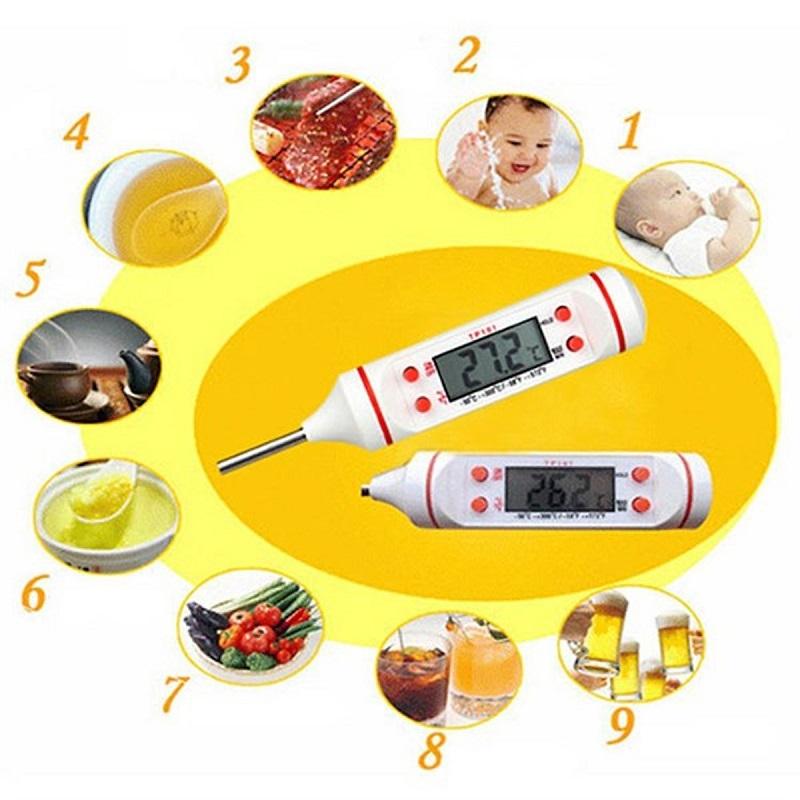 Nhiệt kế đo nhiệt độ nước và thực phẩm màu Ngẫu nhiên - Tặng Bộ 5 Khẩu Trang Y Tế Thái Dương TD09 Chính Hãng