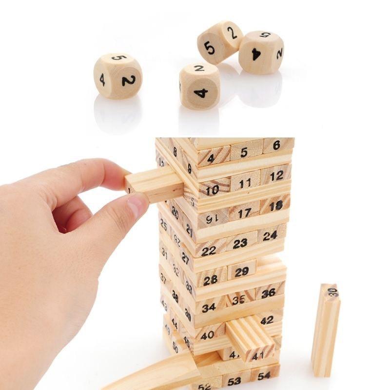 Bộ đồ chơi rút gỗ - Bộ đồ chơi trí tuệ gỗ 54 thanh siêu đẹp