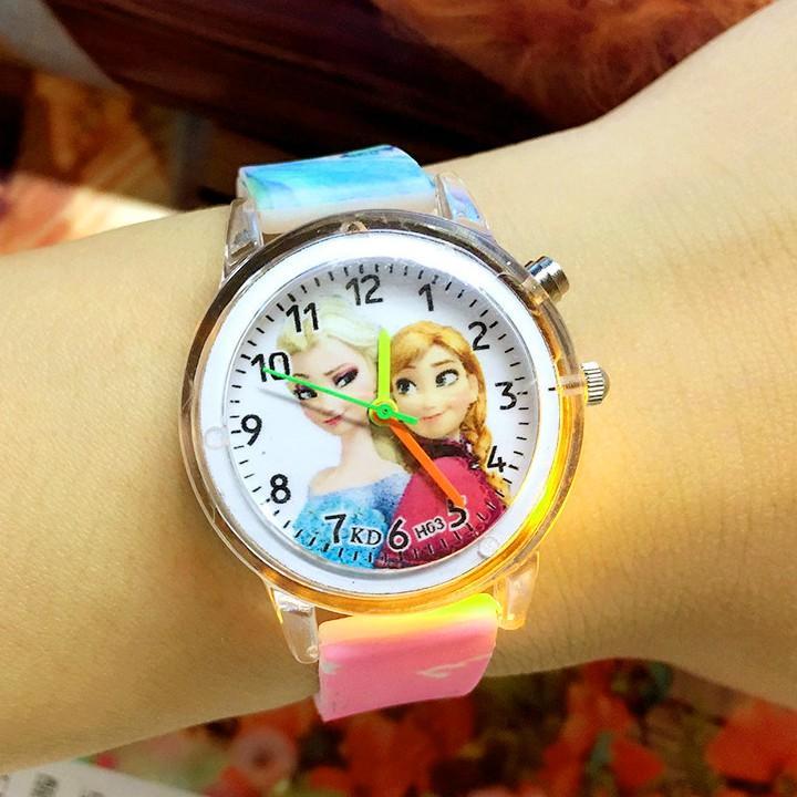 Đồng hồ Elsa & Anna dây silicon phát sáng nhiều màu sắc cho bé gái BBShine – DH013