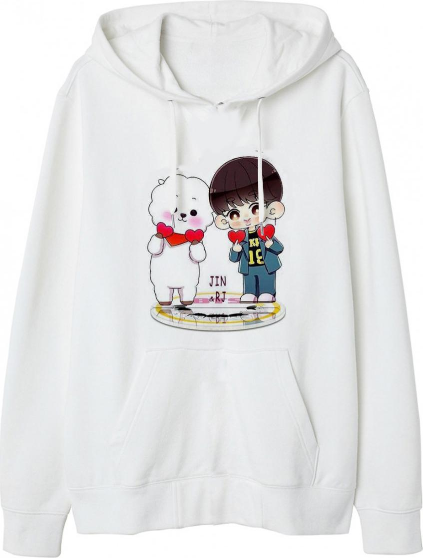 Áo Hoodie Jin Và RJ BTS - Trắng - XS