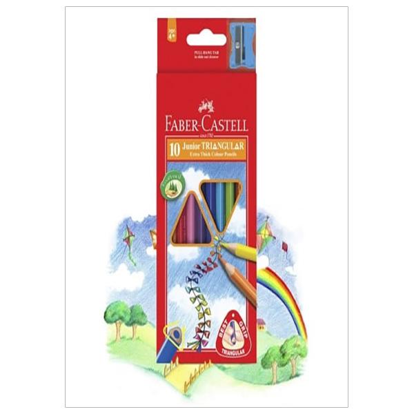 Faber-Castell-11653810-Chì Màu Junior Triangular - 10 Màu Dài + Chuốt