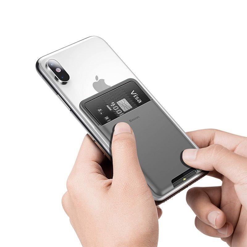 Case đựng thẻ túi đựng Name Card mini thẻ ngân hàng thẻ từ siêu mỏng dán mặt lưng sau điện thoại hiệu BASEUS Back Stick - Hàng nhập khẩu