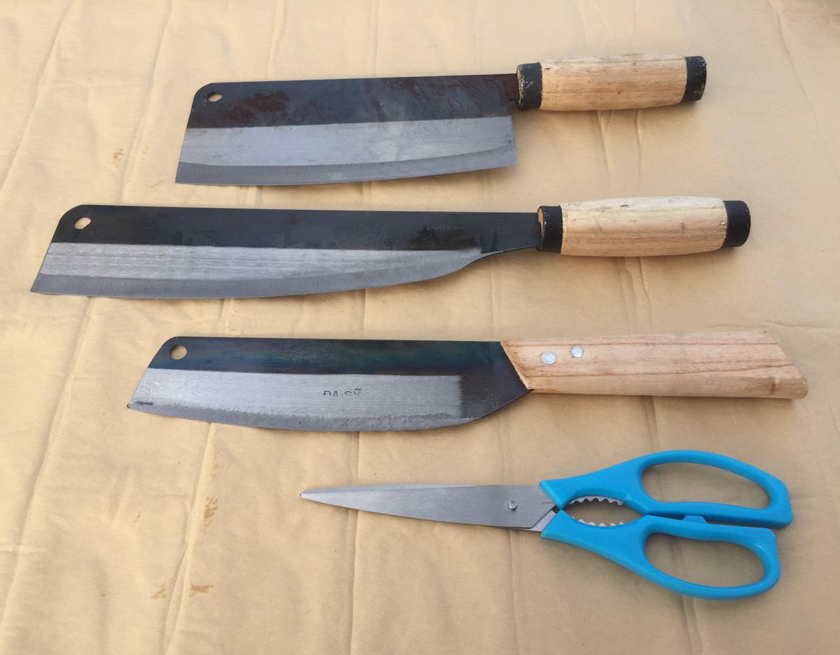 Bộ dao nhà bếp chặt xương thịt, dao thái, dao gọt trái cây, kéo cắt truyền thống Đa Sỹ.