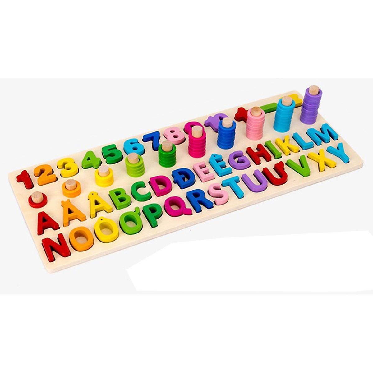 Bảng Chữ Cái Tiếng Việt thường và Số Đếm gỗ nổi-  đồ chơi gỗ an toàn cho bé