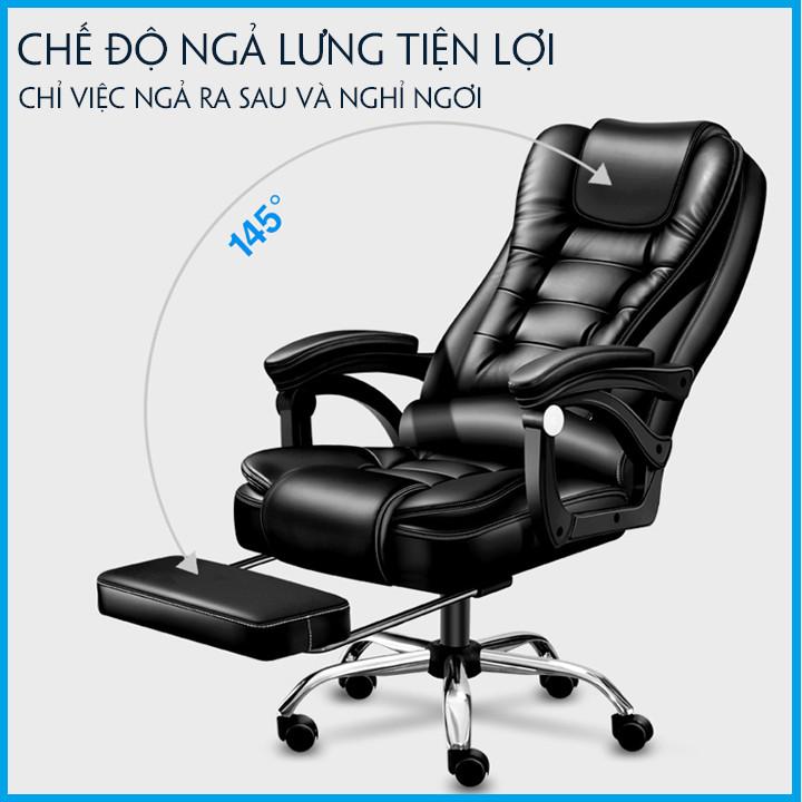 Ghế Văn Phòng Lịch Lãm T148 - Ghế Công Sở - Da PU Cao Cấp - Massage Lưng 220V.  Xoay 360°