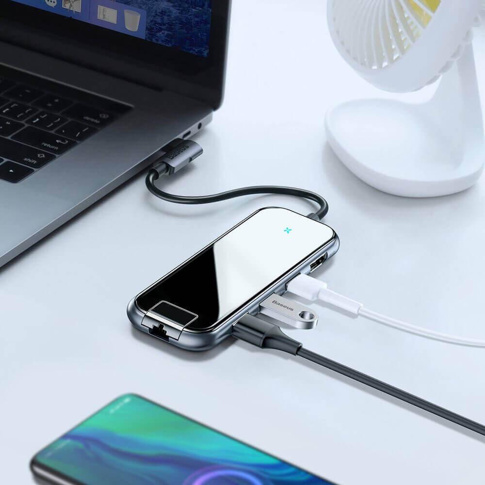 Bộ Hub chuyển đổi Type C Baseus 6 in 1 CAHUB - DZ0G ( USB 3.0 x 3 + HDMI 4K + Type C PD + LAN RJ45 ) - Hàng chính hãng