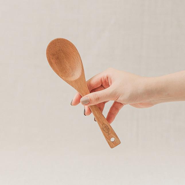 Muôi canh oval nhỏ gỗ beech (20cm)