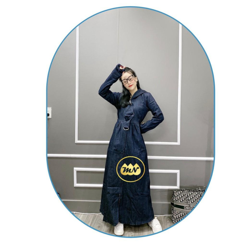 Áo chống nắng toàn thân nữ vải bò Jean 2 lớp dài kín chân - ao chong nang toan than nu vai bo 2 lop