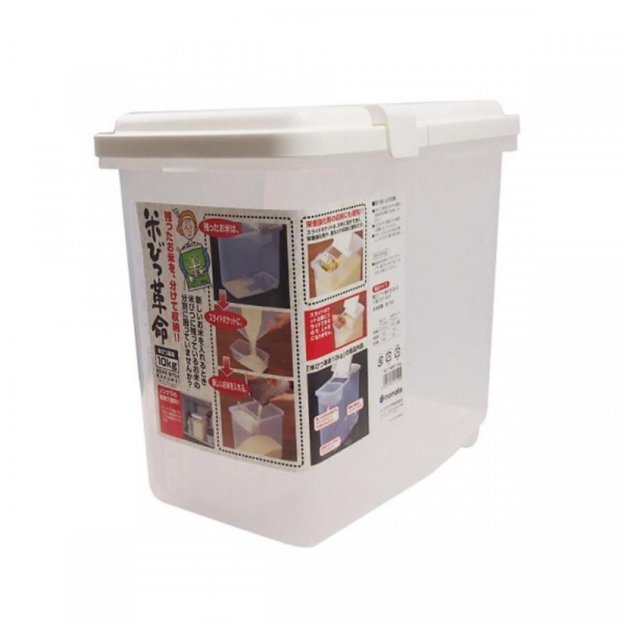 Thùng gạo 10kg nắp bật có bánh xe và ca đong nội địa Nhật Bản