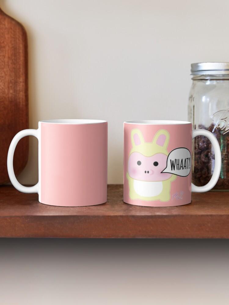 Cốc sứ uống trà cà phê in hình gấu hồng ngộ nghĩnh đáng yêu- Cốc quà tặng