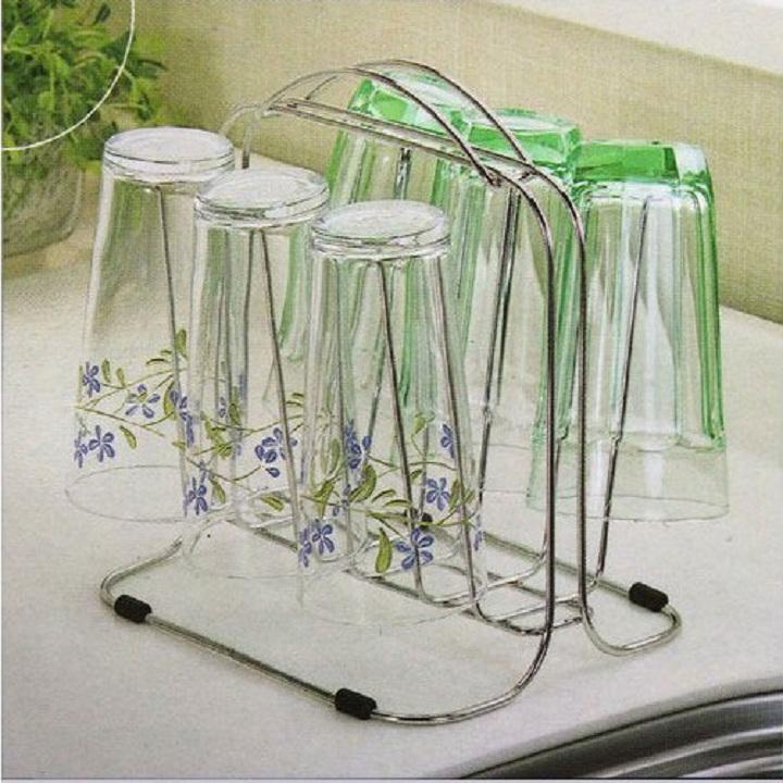 Giá úp ly, cốc inox cao cấp sáng bóng kiểu Hàn Quốc ST-032 (210 x 120 x 175 mm)