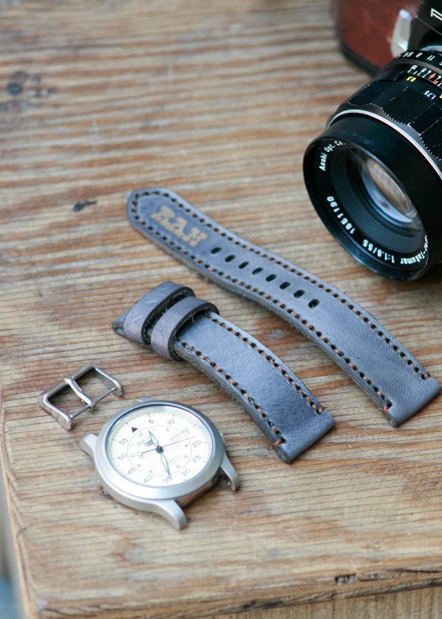 Dây đồng hồ da bò cho Seiko 5 quân đội bản 37mm
