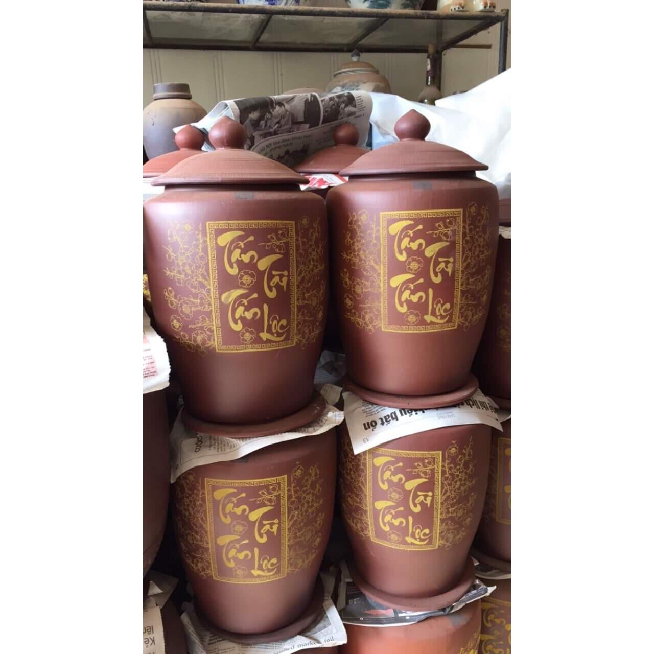 Hũ đựng gạo sành tài lộc Bát Tràng loại 20kg