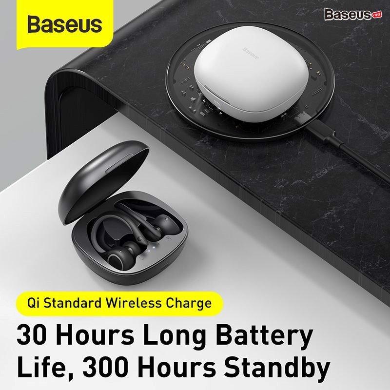 Tai nghe thể thao không dây Baseus Encok True Wireless Earphones W17 ( Bluetooth 5.0 , IP55 Waterproof, 5 - 30h sử dụng, Wireless Charging )HÀNG NHẬP KHẨU