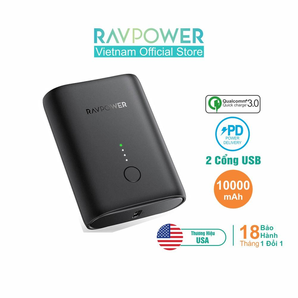 RAVPower RP-PB194, PIN 10.000mAh Sạc Nhanh PD18w +QC 3.0 CHÍNH HÃNG