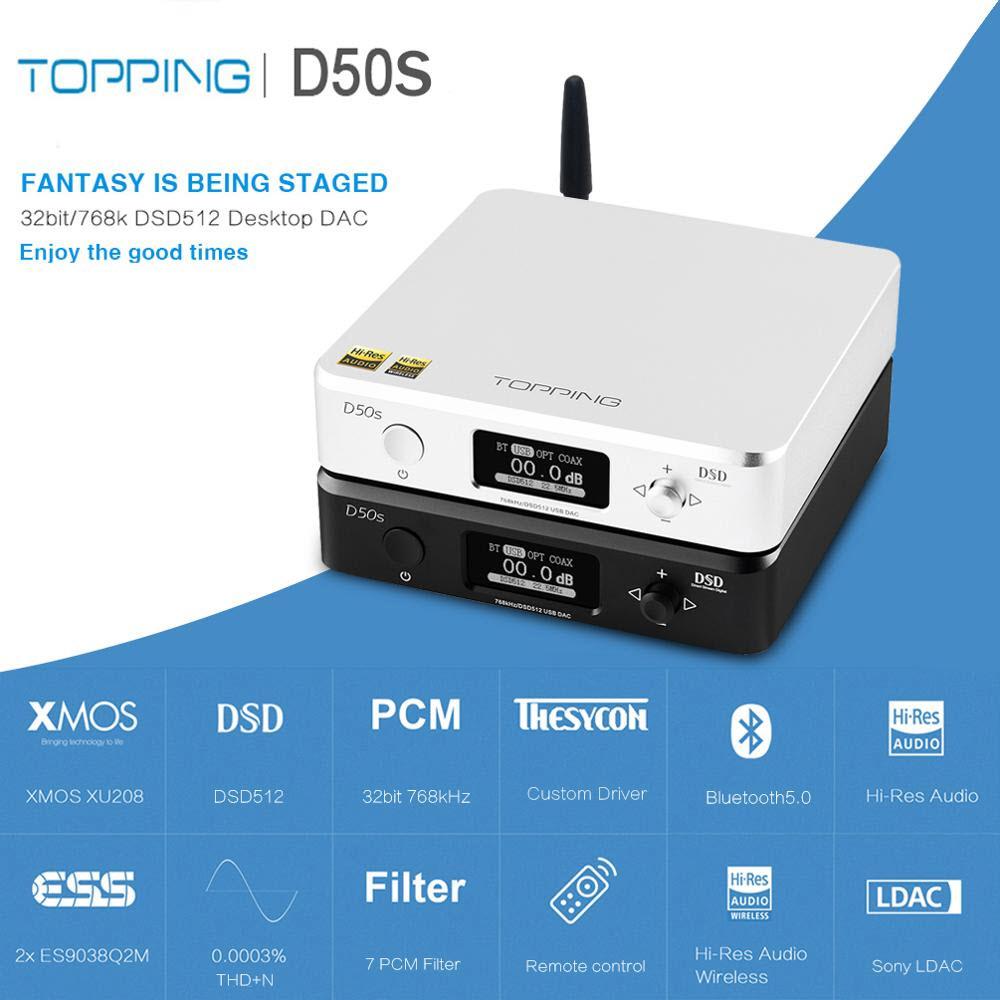 Thiết Bị Giải Mã Âm Thanh DAC Topping D50s Chuyên Dùng Cho Hệ Thống Âm Thanh Gia Đình, Trên Ô Tô Tích Hợp Bluetooth 5.0 Nghe Nhạc Lossless DSD512 32bit - Hàng Chính Hãng