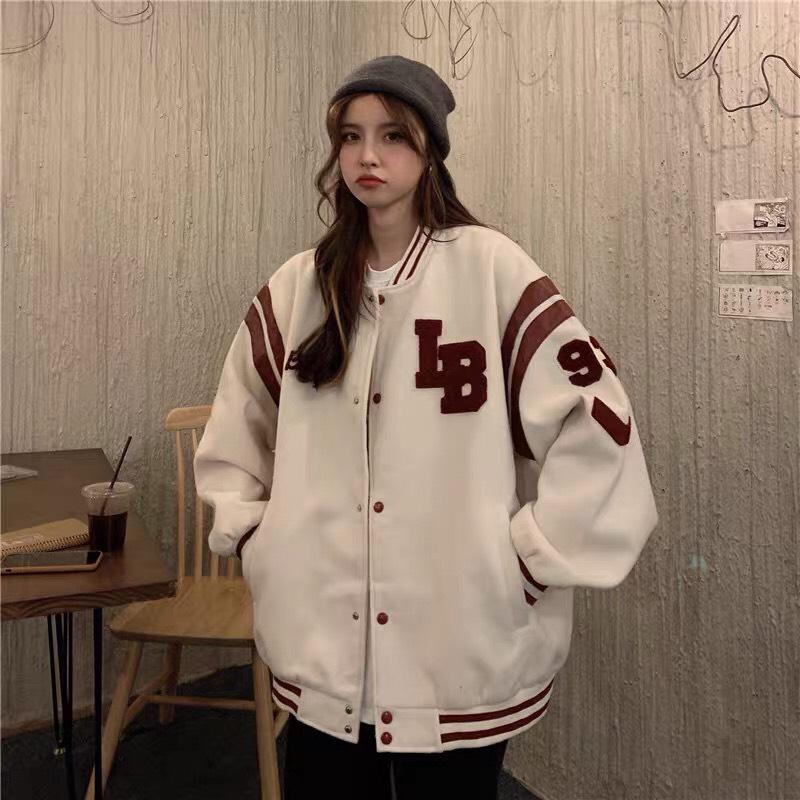 áo khoác dù bomber nữ nút cài  phong cách bóng chày thời hot trend