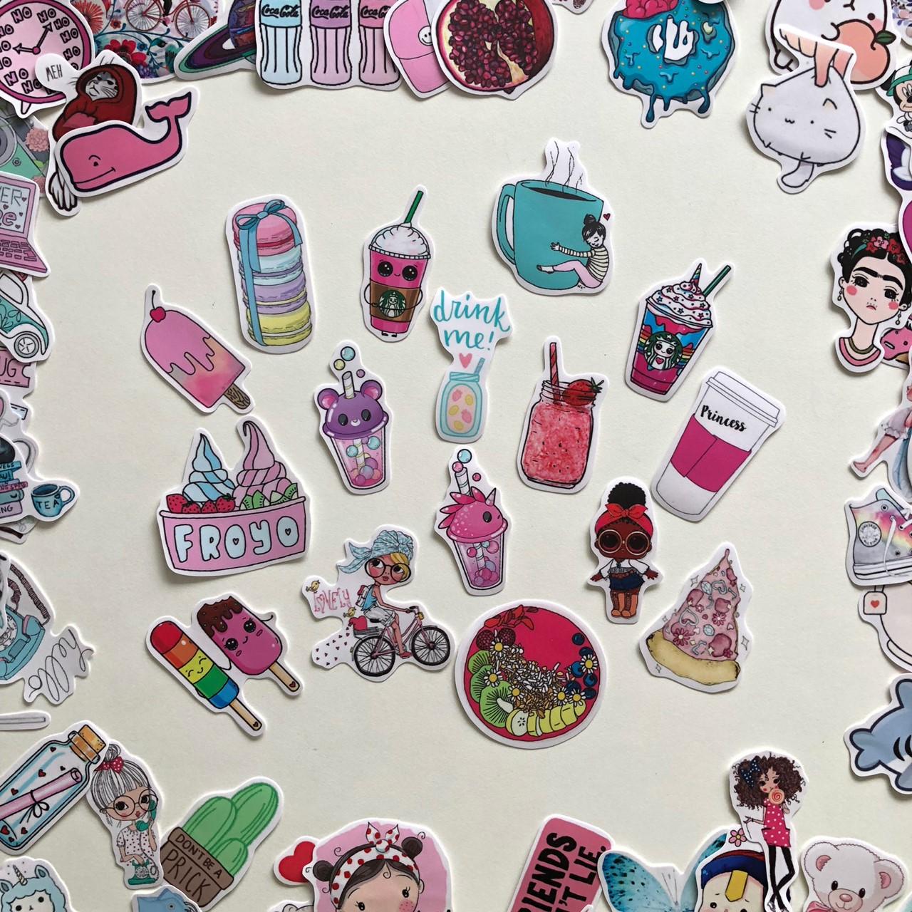 Bộ sticker chủ đề Cute dễ thương 2019, decal hình dán chống nước, trang trí nón bảo hiểm, điện thoại, lap top ...